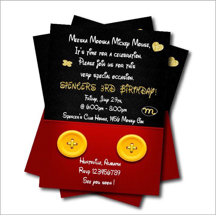 20 pcs/lot Mickey Mouse Birthday Party Invitation Baby Shower ...