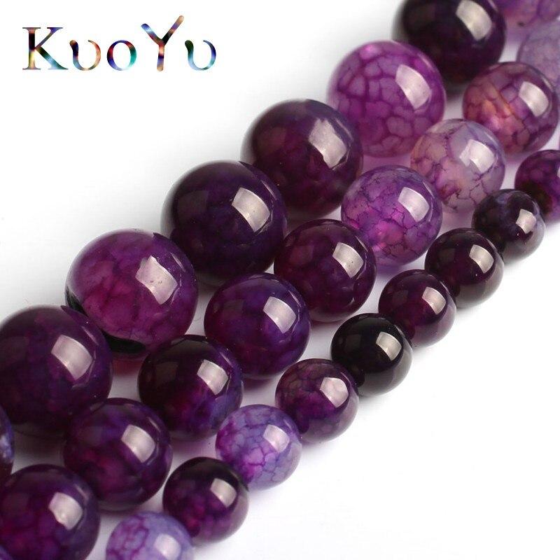 "6-8-10mm purple Dream Fire Dragon Veins Agate Gems Loose Beads Strands 15/"""