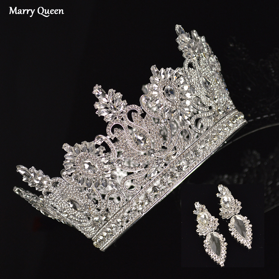 2019 New Luxury Round Silver Crystal Large Crown Earrings Set Elegant Bride Wedding Handmade Rhinestone Inlaid Headdress