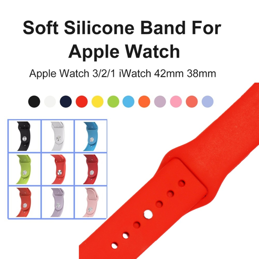Sport Silicone For Apple Watch band strap series 3 series 2 series 1 Iwatch bands 42mm 38mm Bracelet wrist belt+metal buckle luxury ladies watch strap for apple watch series 1 2 3 wrist band hand made by crystal bracelet for apple watch series iwatch