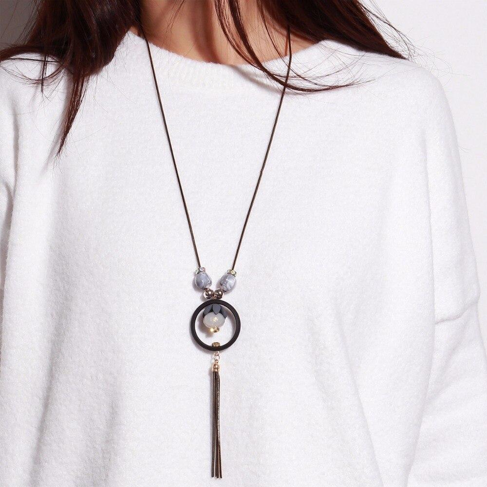 Luxury Rhinestone tassel necklace Choker Necklace collier sautoir long sweater neklace vintage colar necklaces & pendants