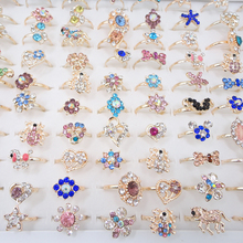10pcs Fashion Adjustable Rings Wholesale lots Mixed Style Rhinestone Flower Heart Animal Finger Band for Women
