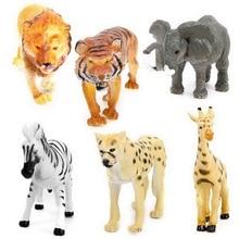 1 Set 6 pcs Ge Shini Wild Animals Lion Tiger Leopard Elephant Deer Zebra Simulation Animal