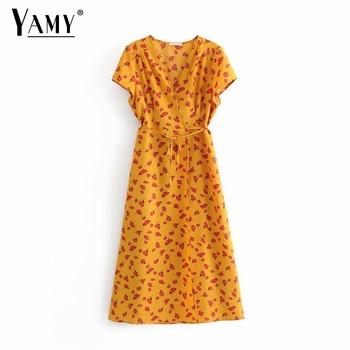 e2eebb134 Elegante Verano Amarillo Mujer Largo Vestido Vintage Vestidos lFJ1TKc3