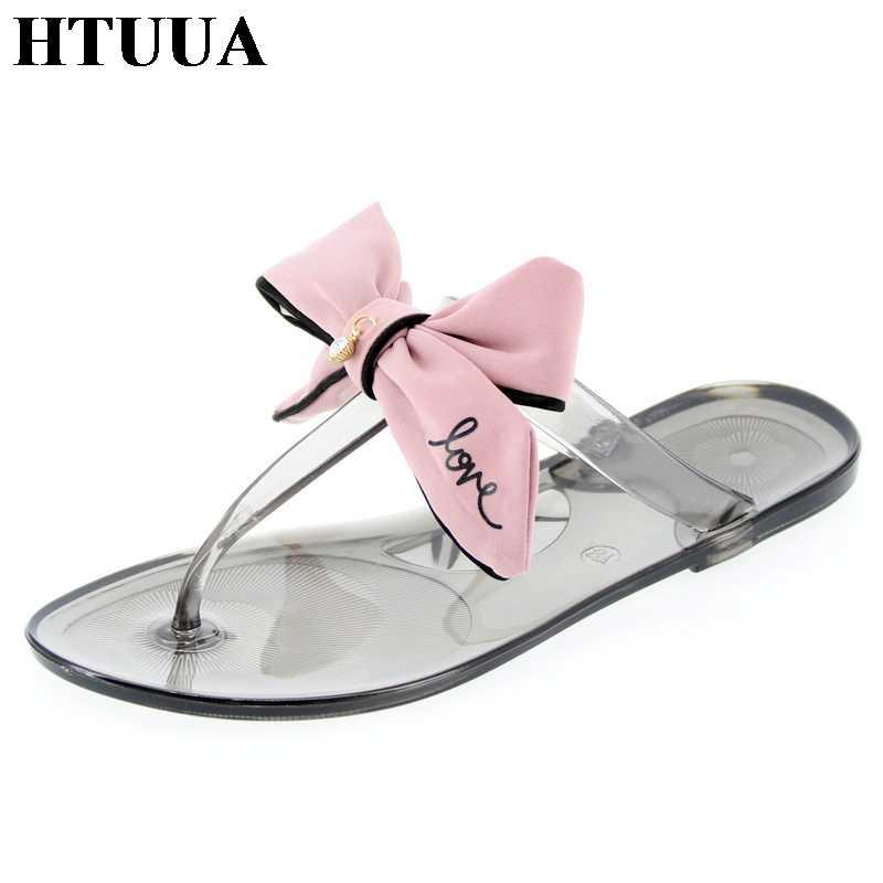 HTUUA 2019 新ファッションクリスタル弓のスリッパ女性ゼリーサンダルフラットスライドカジュアルなビーチフリップは夏のゼリーの靴 SX2180