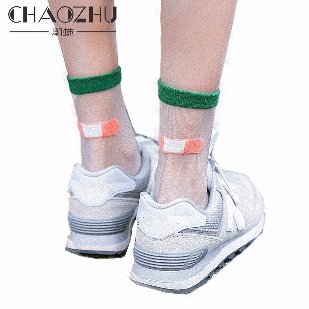 CHAOZHU Summer Women Sheer Socks Funny Creative Design Heel Fake Band Aid Transparent Socks Medias For Girls Lady