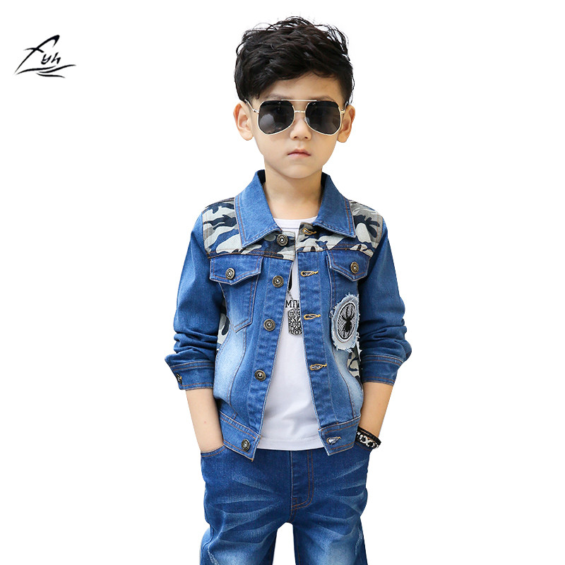 FYH New Autumn Spring School Boys Denim Jacket+Jeans  2pcs Suit Set Children Boys Casual Cowboy Clothes Sets Denim Jacket+ Jeans k