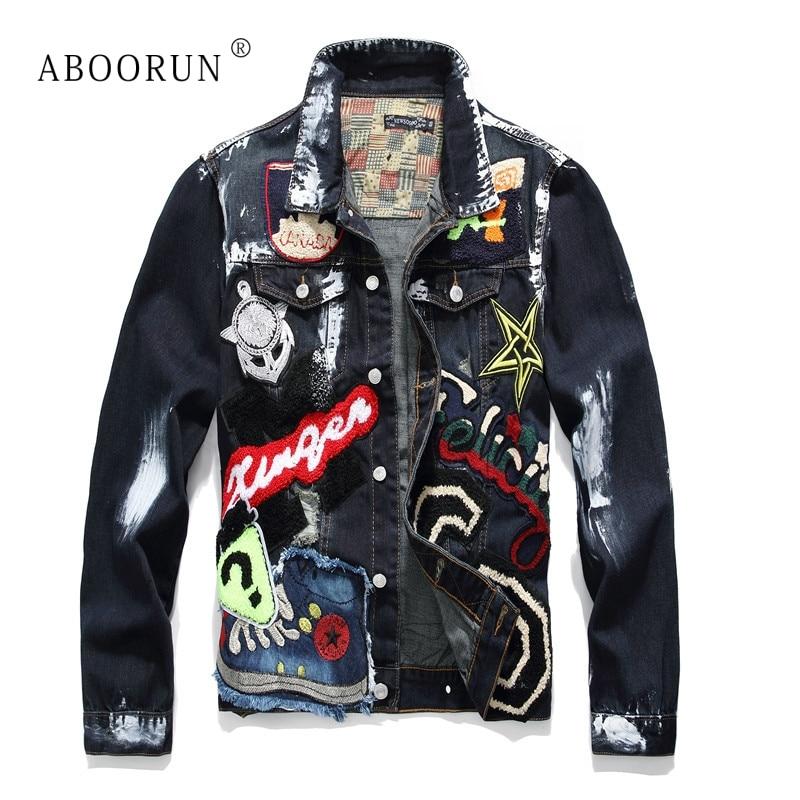 ABOORUN Hommes de Mode Denim Vestes Punk Crâne Broderie Peint Jeans Vestes Hommes Marque Streetwear Manteau x1643
