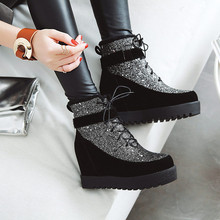 Купить с кэшбэком 2019 Winter Women's Leather Casual Shoes Height Increasing Ankle Boots Wedge Boots Heels Hidden Shoes Woman Platform Botas Black