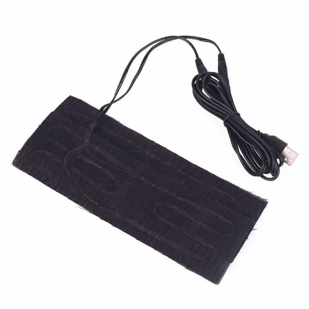 24f296e5c01d 2PCS/Set 5V USB Electric Heating Pad Foot Hands Warmer Cushion Mat Carbon  Fiber Universal Car Interior Warm Clothing Pad