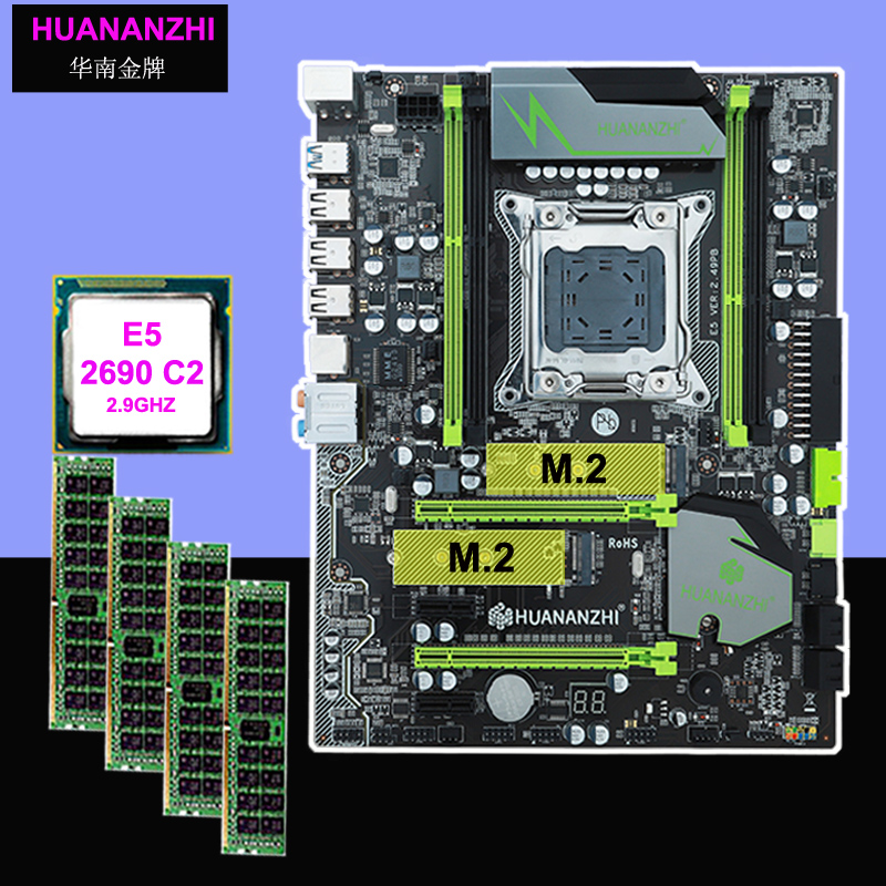 Brand new motherboard with dual M.2 SSD slot HUANANZHI X79 Pro motherboard with CPU Xeon E5 2690 C2 2.9GHz RAM 16G(4*4G) REG ECC 1