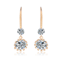 YAN MEI Top Quality Delicate Elegant Champagne Gold Color Double AAA Cubic Zirconia Hook Earrings Party Gift for Women GLE3743