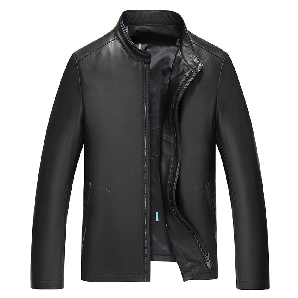 Promote Formal Natural Sheep Skin Leather Overcoat Men Meeting Working Outwear Leather Genuine Black Real Leather Jacket