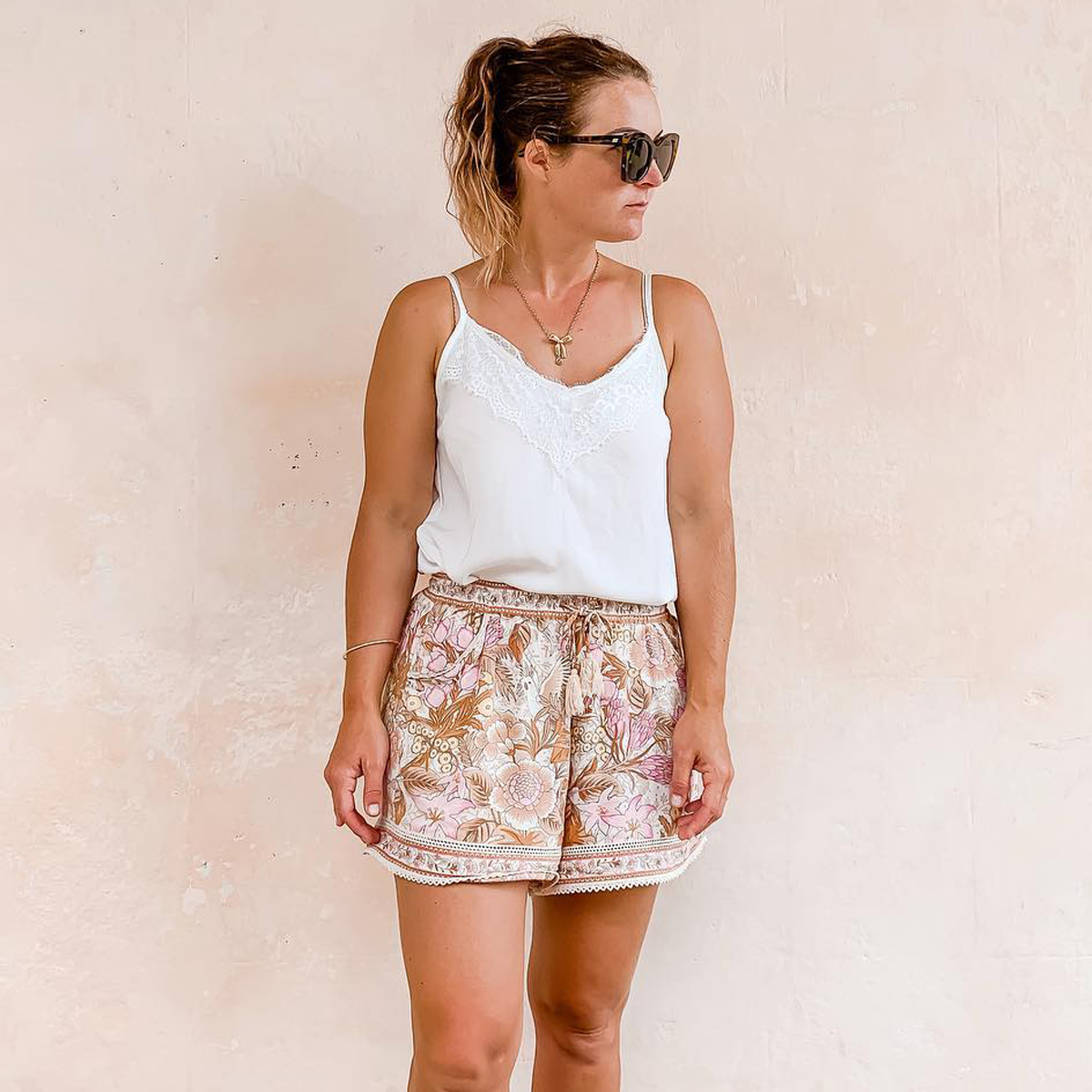 Jastie Elastic High Waist Shorts Women Casual Beach Boho Shorts Female Loose Summer Short Pant Bottom Pantalones Cortos Mujer