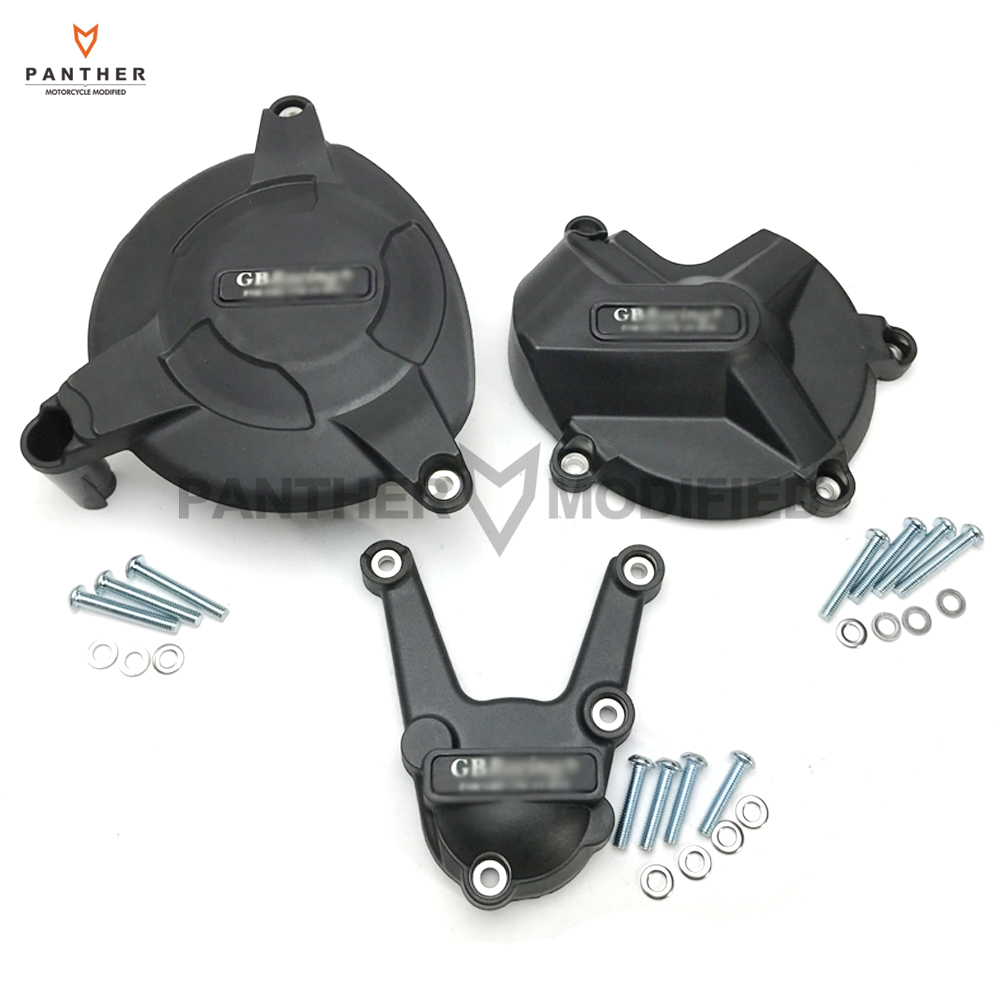 Black Motorcycles Secondary Engine Protection Cover Set Case for GB Racing for BMW S1000RR S1000R 2009-2016
