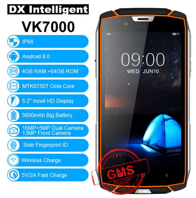 """Ship from RU VKworld VK7000 4G LTE IP68 Waterproof 5.2"""" MTK6750T Octa Core Face ID 4GB+64GB 13MP Dual Camera Rugged mobile phone"""