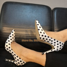 Women High Thin Heel Polka Dot Sandals Pointed Toe Satin Pumps Elegant Fashion Shoes