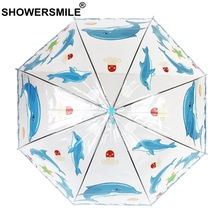 SHOWERSMILE Kids Transparent Umbrella Girls Boys Apollo Cartoon Dolphin Children Semi-Automatic Rain Umbrellas For