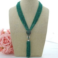N080904 6Strands Green CZ Necklace Pendant