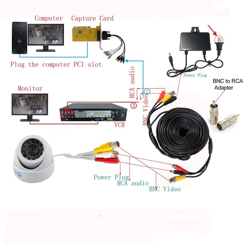 100ft Cctv Rca Surveillance Security Camera Wire Cable Audio Video Wiring Bnc Dvr Cord In Cameras From Protection On