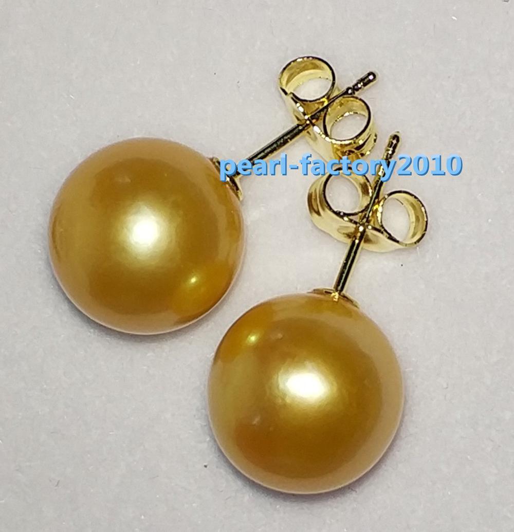 купить AAA 10-11mm natural Australian south sea golden pearl earrings 14 по цене 5554.04 рублей