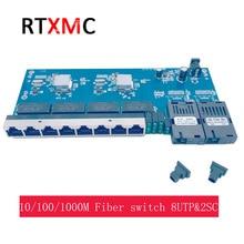 PCBA conmutador Ethernet Gigabit, convertidor de medios ópticos de fibra, PCBA 8UTP & 2SC 10/100/1000M, modo único 8 * RJ45 UTP y 2 * SC fibra