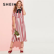 8b860d2e0a SHEIN Summer Calico Print Bow Tied Blouse Top And Skirt Set Women Bobo  Casual Short Sleeve Tops Midi Skirt Matching Sets