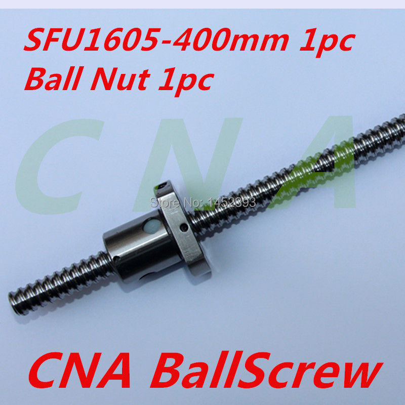 Free shipping SFU1605 Ball Screw L400mm with Ball Nut Both end Machined 1pc