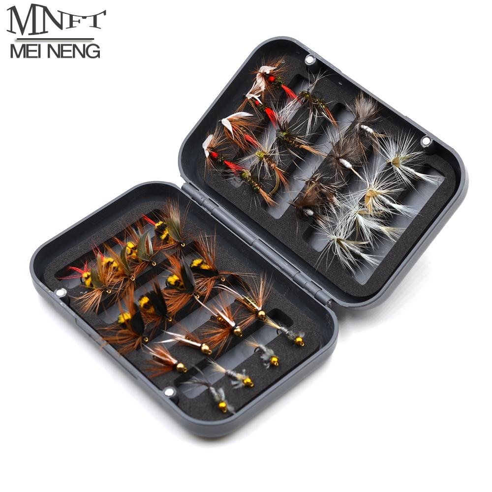Mnft 32 pçs/caixa truta nymph mosca isca de pesca seca/molhada moscas ninfas pesca no gelo iscas artificiais com encaixotado