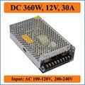 360 Вт 12 В 30A Тройной Выход Импульсный Источник питания для света Прокладки Сид дисплей, входное Напряжение AC100-240V Трансформатор ПОСТОЯННОГО ТОКА 12 В
