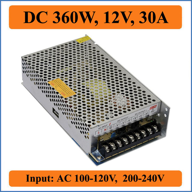 360W 12V 30A Triple Output Switching power supply for Led Strip lights, AC 100-240V input Transformer to DC 12V Output Power