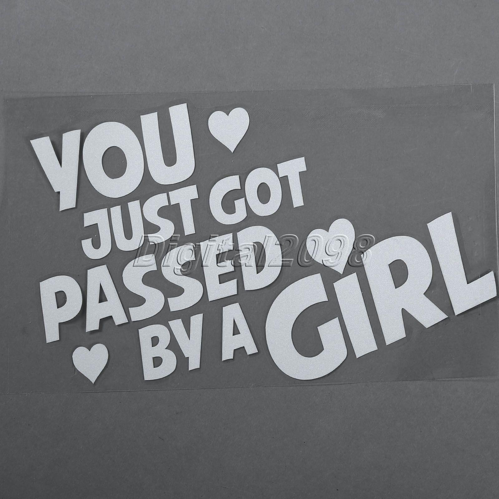 Car pass sticker design - Pumpkin You Just Got Passed By A Girl Car Sticker White Vinyl Decals On Cars Reflective