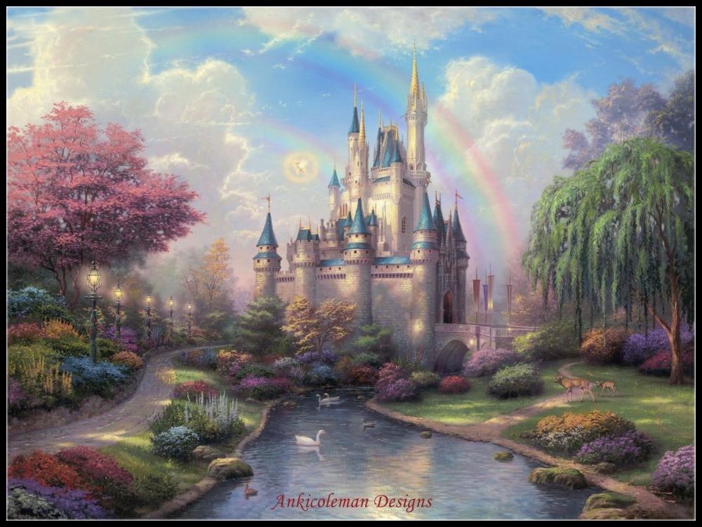 Hari baru Di Cinderella Castle-Terhitung Cross Stitch Kit-DIY Buatan Tangan Menjahit Untuk Bordir 14 ct Cross Stitch Set