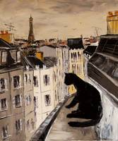Handpainted Modern Abstract Wall Art Painting Reproductions Animal Oil Painting Black Cat On Roofs Of Paris