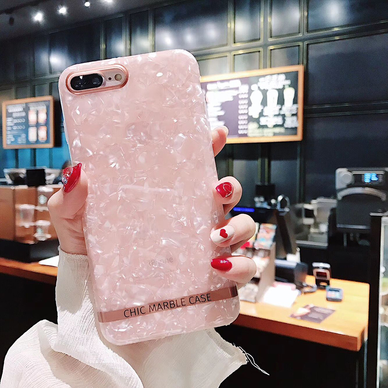 GABOOM IMD Shell Patterned Phone Case for iPhone X Case for iPhone 7 6 6s 8 Plus Glossy Shiny Trendy Phone Covers for iPhone X