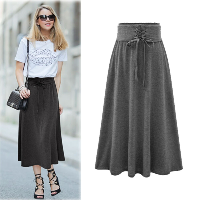 Long Black Cotton Skirt Promotion-Shop for Promotional Long Black ...