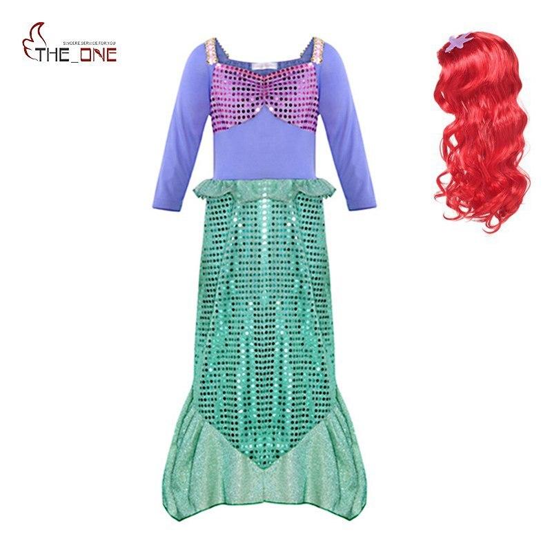 MUABABY niña Ariel vestir ropa de manga larga lentejuelas pequeño disfraz de cosplay de sirena niños Halloween cuentos de hadas fiesta suministro Vestido de verano para niñas la cola de sirena princesa ariel vestido cosplay disfraz para chica vestido verde de lujo