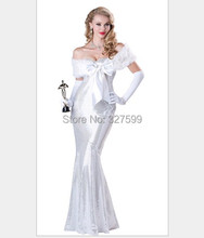 New Cosplay Halloween social gathering gown white film actress requested to decorate princess gown lengthy Gown social gathering luxurious clothes