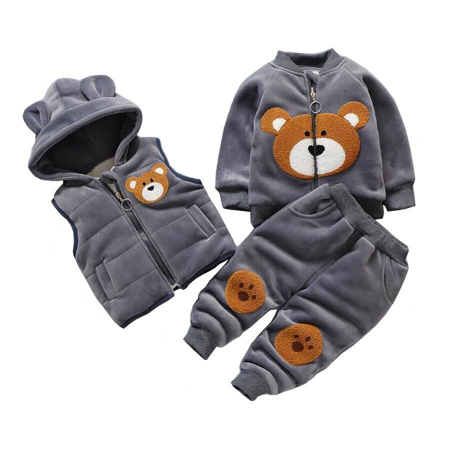 3 pcs New Baby Winter Clothing Suit Set Boys Girls Velvet Jacket Vest Pants Infant Kids