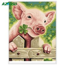 AZQSD Animals DIY Painting By Numbers Hand Painted Oil Painting On Canvas Pig Living Room Wall Art Picture 40x50cm Unframed A639(China)