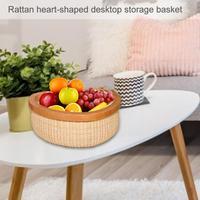 Rattan Heart shaped Dries Fruit Storage Basket Desktop Storage Bucket Jewelry Storage Box Household Organizer Fashionable