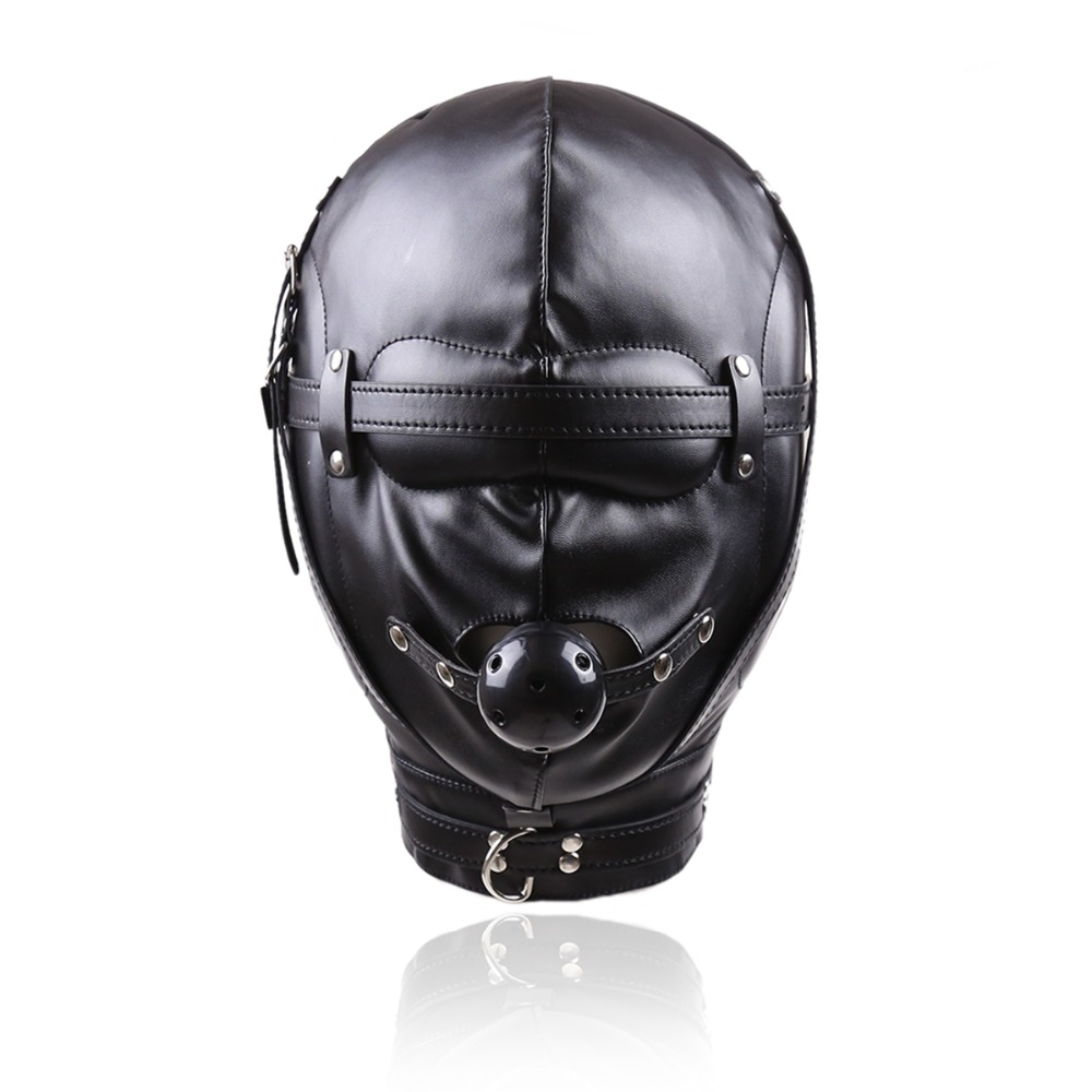 Black leather mask head bondage mask adult sex toys for couples bdsm mask with open mouth gag slave sex products leather sex toys ring gag flirting open mouth with o ring during sexual bondage bdsm roleplay and adult erotic play for couples