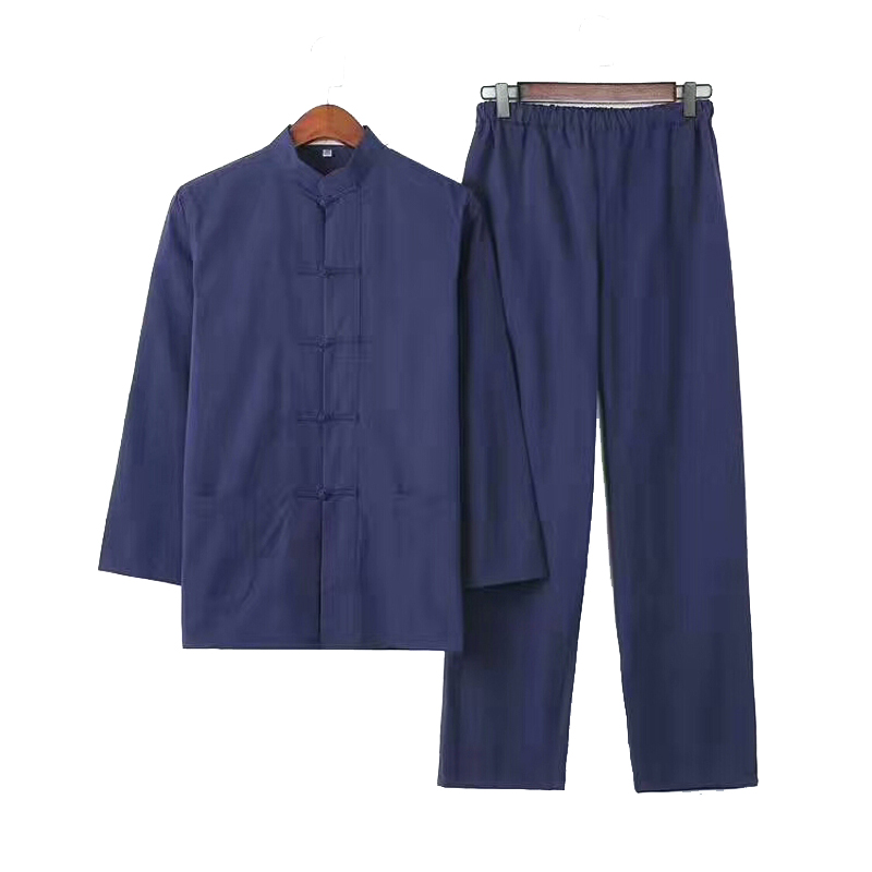 2PC Men's Solid Kung Fu Suit Chinese Traditional Male 100% Cotton Loose Wu Shu Tai Chi Sets  Jacket+Long Pants