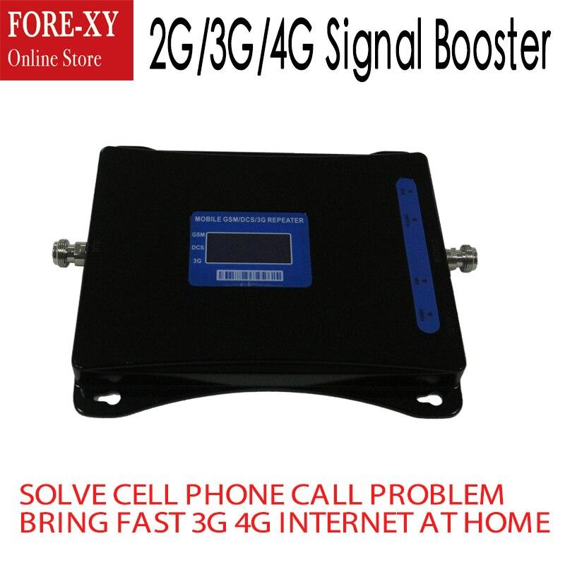 Tri Bande GSM 900 mhz 3g UMTS 2100 mhz 4g 70dB Mobile Cellulaire Booster 1800 mhz DCS WCDMA 2100 LTE Répéteur de Signal Amplificateur