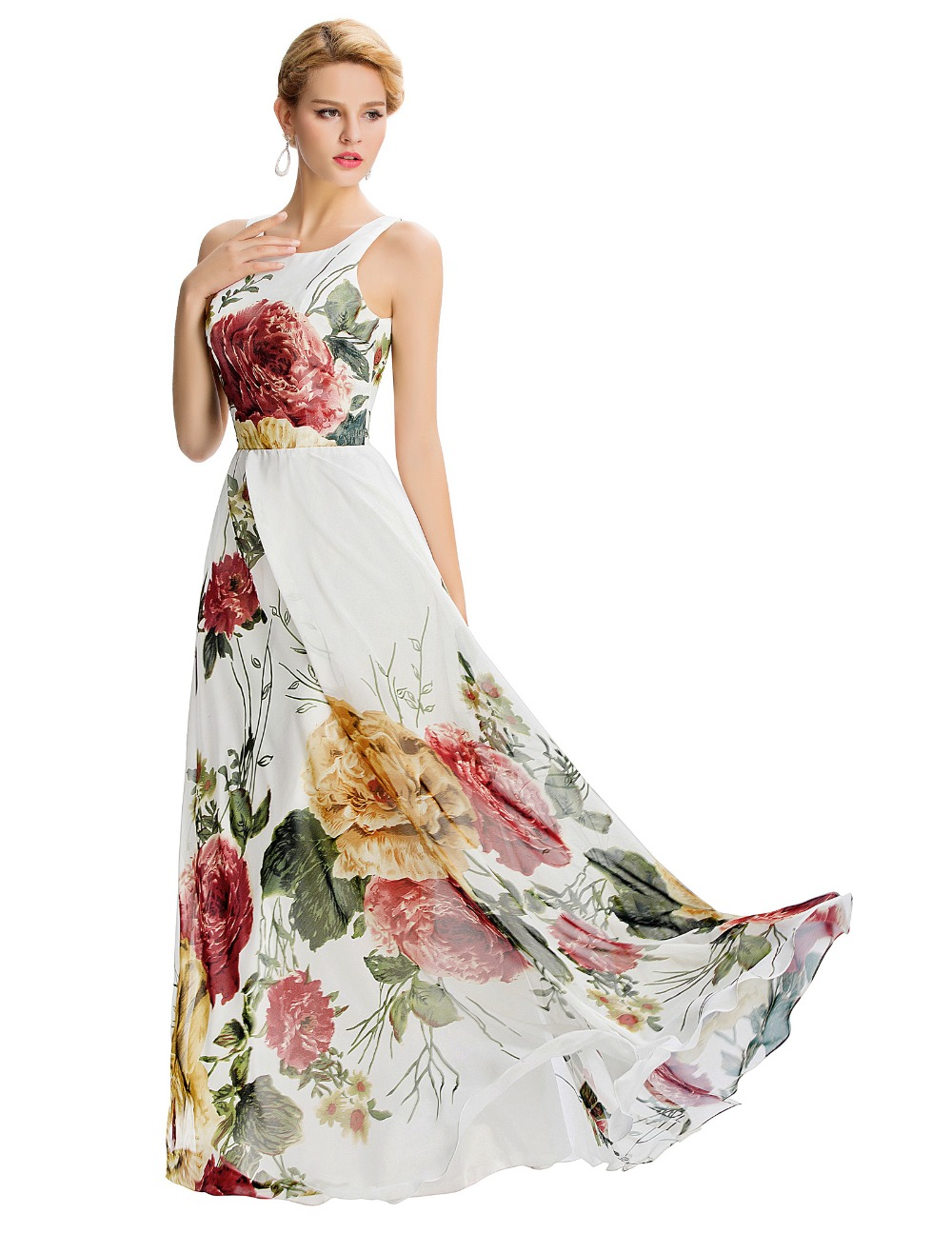 Print Evening Gowns with Straps