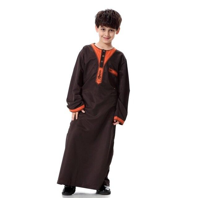 Многоцветный Мальчики Саудовской Стиль Тобе Thoub Robe Daffah Dishdasha Исламские Арабские Кафтан Fit 6-18 Лет