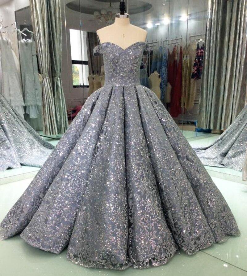 Abiti Da Sera Lunghi 2018.Luxury Glitter Paillettes Abiti Da Sera Lunghi 2018 Abito Di Sfera