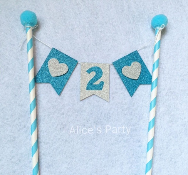 New Custom Boy 2 Second Birthday Cake Buntings Blue Party Toppers Pompoms Silver Heart Decorations Digital2