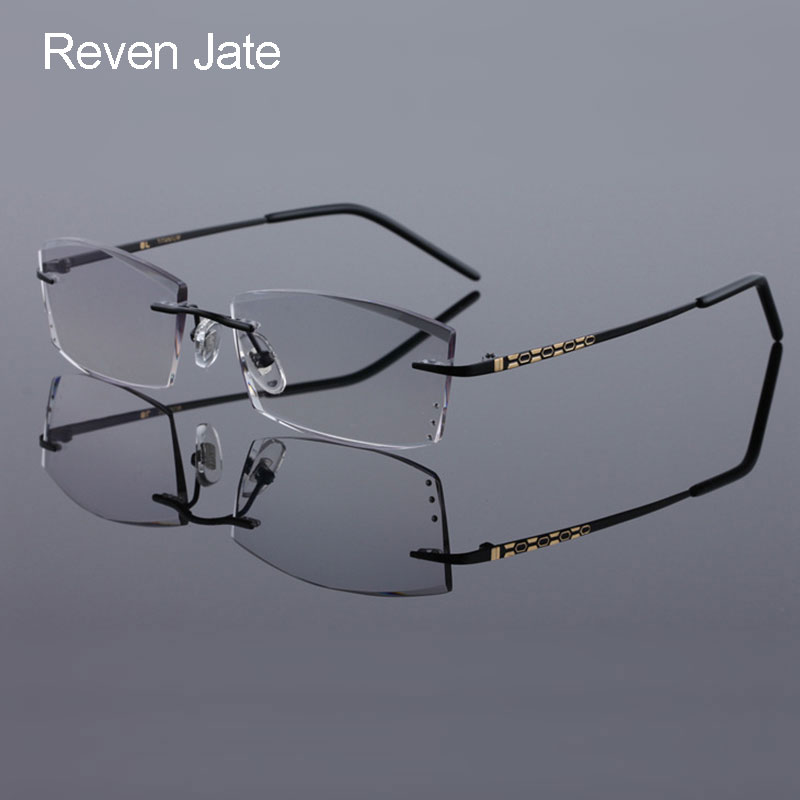 9239e4c299 Reven Jate 8306 Pure Titanium Rimless Diamond Cutting Man Glasses Frame  Optical Prescription Eyeglasses Men Eyewear Fashion