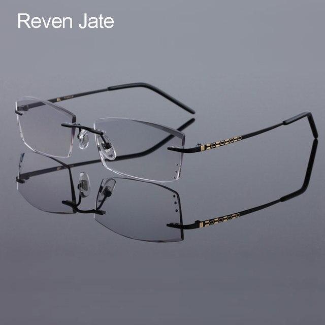 d2b34f73f6 Reven Jate 8306 Pure Titanium Rimless Diamond Cutting Man Glasses Frame  Optical Prescription Eyeglasses Men Eyewear